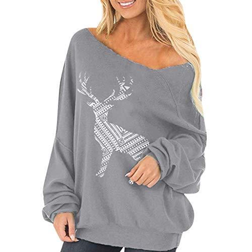 Weihnachten Damen Pullover Mädchen Weihnachtspulli Rentier Langarm Christmas Sweatshirt Oberteile Langarmshirts Shirts Bluse Tops (Grau, L)