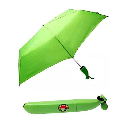 Superbison Ombrello pieghevole portatile per pioggia/sole per esterni a ombrello a forma di Banana verde