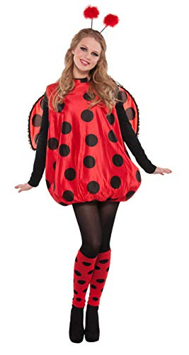 Pippi Langstrumpf Womens Kostüm - amscan 841874-55 Damenkostüm Süße Marienkäfer, schwarz/rot, M/L