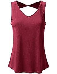 POLP Crop Tops Camiseta sin Mangas para Mujer Escote en V Suelto Espalda Abierta Camisetas Talla