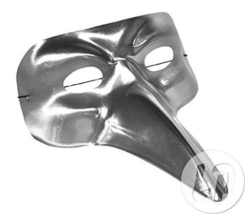 Lot / Set von 6 Stück - Silber Metallic venezianische Maske lange Nase (Silber Venezianische Lange Nase Maske)