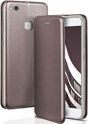 ONEFLOW Huawei P10 Lite | Hülle Anthrazit-Grau mit Karten-Fach 360° Business Klapp-Hülle Handytasche Kunst-Leder Handyhülle für Huawei P10 Lite Flip Case Cover Tasche Schutzhülle