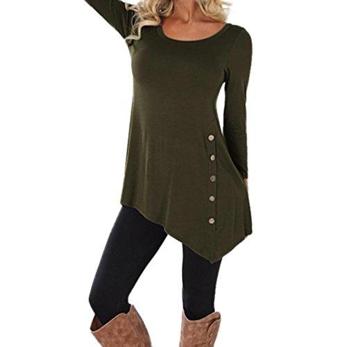 Yanhoo le donne manica lunga sciolto bottone trim camicetta colore solido girocollo tunica t-shirt, top felpa donna corta elegante pullover inverno girocollo (xxl, verde militare)