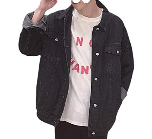 CuteRose Men Washed Buttoned Pocket Bomber Denim Jean Jacket Coats Outerwear Black 2XL Sherpa Lined Denim