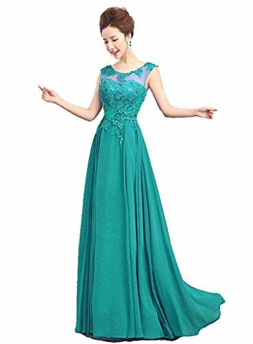 Vantexi Damen Lange Chiffon Abendkleid Partykleid Ballkleid Smaragd Größe 34 (Partykleid Smaragd Grün)