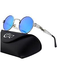 CGID E73 Polarizzate Occhiali da Sole da Uomo Retro Stile Steampunk Rotondi  in Metallo cd6769f2299b