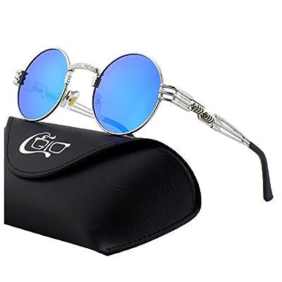 Gafas de sol Retro Steampunk Metal Vintage Gótico lente azul, modasteampunk, steampunk, gafas goticas, Gafas de Sol Redondas Steampunk Polarizadas CGID 2018,