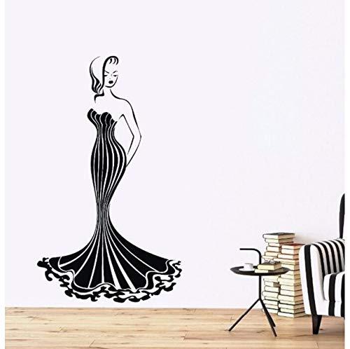BVTYGH Wandaufkleber Vinyl Wandaufkleber Heiße Wandaufkleber Dekoration schöne Dame Kostüm Tapete Wandbild Figur 57 x 97 c