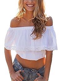 Minetom Verano Moda Camiseta Para Mujer Blusa Tops Corta Manga Estilo Bohemio Diseño De La Hoja De Loto Una Pieza Estilo Sujetador