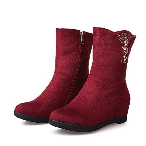 AgooLar Damen Mittler Absatz Mattglasbirne Mitte-Spitze Stiefel Rot