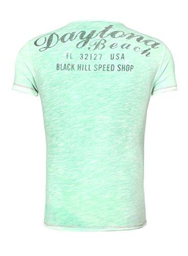 Key Largo Herren T-Shirt V-Ausschnitt V-Neck Männer Printshirt Riders USA Biker Vintage Verwaschen Hellgrün