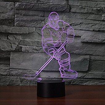 3D Hockey Illusions LED Lampen Tolle 7 Farbwechsel Acryl berühren Tabelle Schreibtisch-Nacht licht mit USB-Kabel für Kinder Schlafzimmer Geburtstagsgeschenke Geschenk