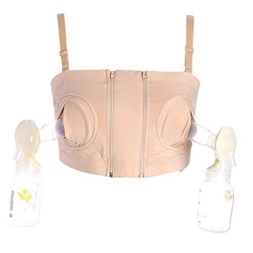 Yuanu Donna Tiralatte Reggiseno Mani Libere in Cotone Morbido per Breastfeeding Nursing Bras Colore della carne M