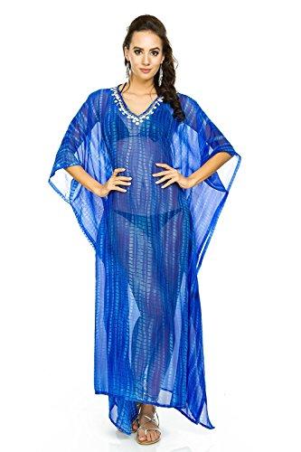 donna lungo Kimono MAXI spiaggia estiva Throw Abito Caftano Taglia unica Blue-322