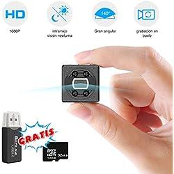 FLYLINKTECH Mini cámara espía Oculta con Tarjeta SD de 32 GB, batería Mini cámara de Video grabadora HD Mini cámara de vigilancia Videocámara con grabación de Bucle de visión Nocturna