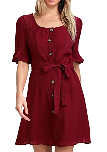 Damen Sommerkleid Casual Chiffon Taste Kurzarm Krawatte Taille Polka Dot Einfarbig Strand Mini Shirt Kleid (Burgund, Small) -