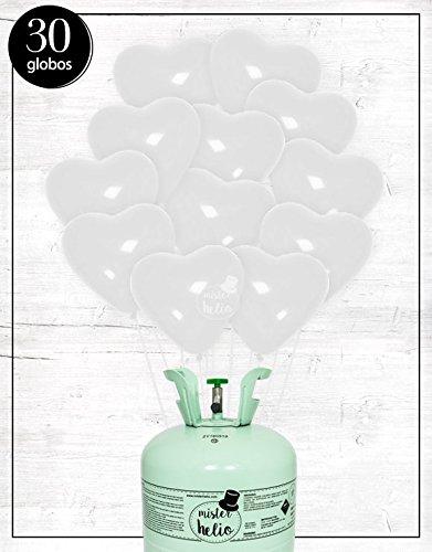 Bombona de helio Mr. Helio + Globos corazón blanco