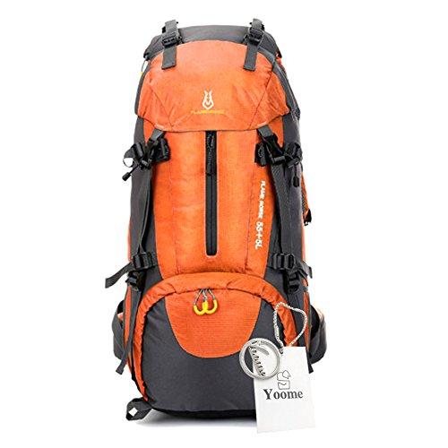 Yoome 60L zaino telaio interno escursionismo zaino in spalla per escursioni allaperto Viaggi arrampicata campeggio alpinismo con coperchio pioggia - Rosso arancia
