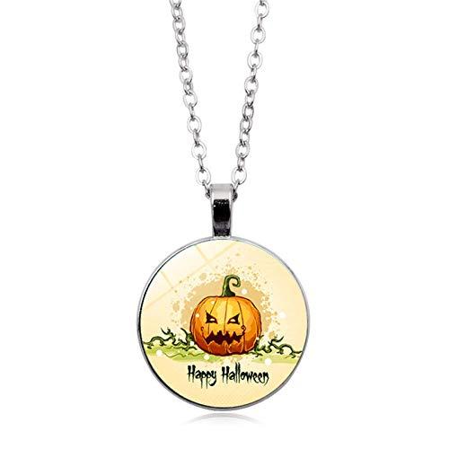 Blisfille Halloween Spukhaus Zeit Edelstein Halskette Anhänger Halskette Pullover Kette Herren Damen ()