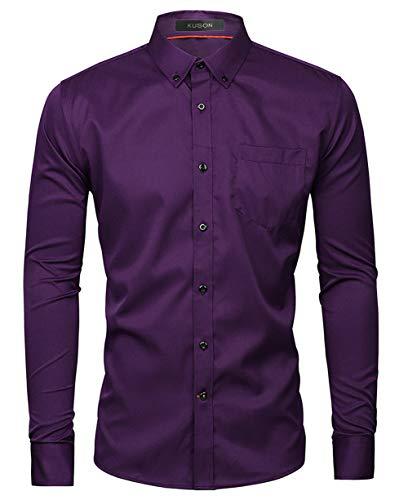 Kuson Herren Business Hemd Slim Fit für Freizeit Hochzeit Reine Farbe Hemden Langarmhemd Lila XXL