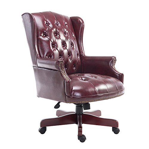 HOMCOM Luxury Rolling Executive Managers Directors Chesterfield Antique High Back Office Chair PU Leather Padded Swivel Adjustable Ergonomic Computer Desk Seat Armchair (Brown)