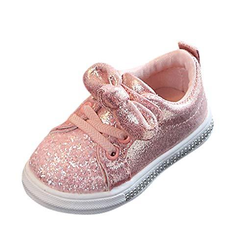 Unisex Baby Sneaker,Dorical Kinder Sommer Pailletten Bowknot Sportschuhe Jungen Mädchen Freizeitschuhe Sneaker Lauflernschuhe Krabbelschuhe mit Weiche Sohle für 1-6 Jahre(Rosa,30 EU)