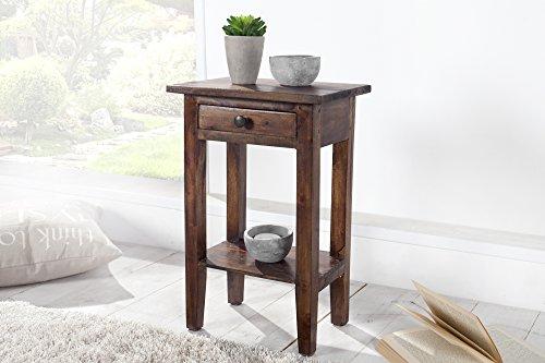 DuNord Design Telefontisch Beistelltisch Holz braun Key West Coffee Mahagoni Massiv Holz Tisch Blumentisch -