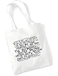 100% Baumwolltasche - METALLICA - (Black Album) - Noir Paranoiac - Weiß 42 x 38 cm Tragetasche Musik Song Lyrisch Album Kunstdruck Plakat Wiederverwendbare Tote Strand Festival Einkaufend Tasche für Leben Geschenk von Lissome Art Studio - Cotton Music Lyrics Poster Art Tote Bag