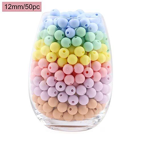 baby tete Perles de silicone Ensemble de couleur Candy Color 12mm/50pcs Teether pour bébé Accessoires Diy Pendentif Collier pour bébé Pendentifs Chewing Chewing