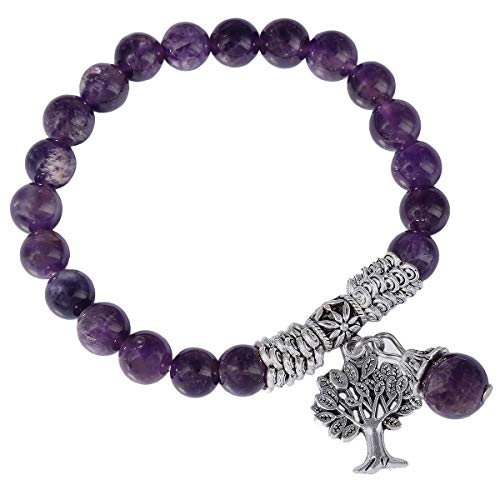 Price comparison product image KYEYGWO 8mm Tree of Life Chakra Bracelet,  Reiki Healing Balancing Lucky Charm Stretch Stone Beads Bracelet for Unisex