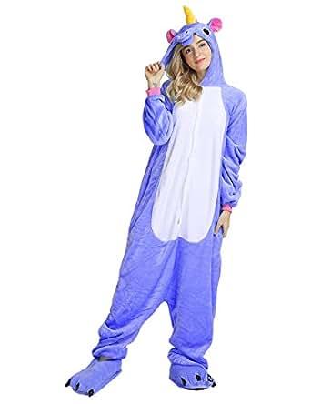 Cosplay Unicorn Pigiama Animali Unisex Pigiama Party Halloween Sleepwear Costume Cosplay Flanella Tuta S M L XL - LATH.PIN (S(148-160CM), Blu Scuro)