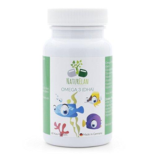 Omega 3 niños y vitaminas para niños, NaturElan, 60 cápsulas pequeñas para masticar con un delicioso sabor a grosella
