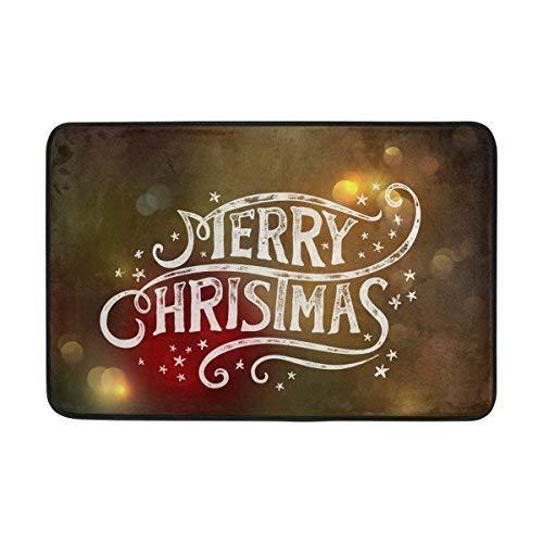 e Doormat Merry Christmas Light Neon Star Indoor/Outdoor Decor Rug Doormat 23.6x15.7 Inch Non-Slip Home Decor ()