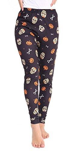 Damen Mädchen Halloween Schädel Karten Fledermaus Spinne Hexe Dracula Lippen Leggings Hosen EUR Größe 36-54 (L/XL (EUR 44-46), Schädelknochen (Halo Für Kostüme Kinder Größe)