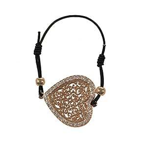 Bracelet Fantaisie Cordon en Coton Noir Pendentif Métal Doré et Strass Coeur Arabesques - Bijoux Femme Fantaisie