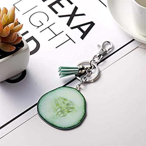 NawaZ Funny und Fashion Key Dekoration Gurke Quaste Anhänger Acryl Schlüsselanhänger Geldbörse Handtasche Auto Charme Keychain Geschenk (grün)