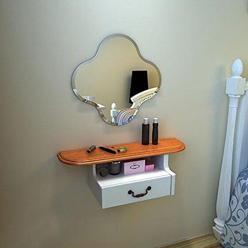 Schreibtische HAIZHEN Schminktisch Makeup Schubladen und Spiegel Schlafzimmer Klapptisch (Farbe : Shelf+Mirror A) (Einzelne Schreibtische Workstation)