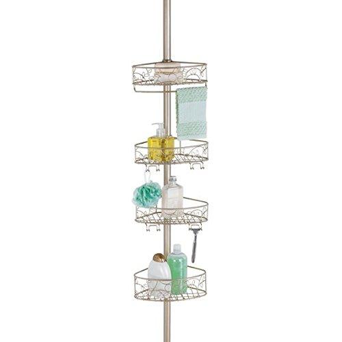 Mdesign mensola telescopica per doccia - senza montaggio - regolabile da 150cm a 270 cm - per shampoo, bagnoschiuma, sapone, ecc.