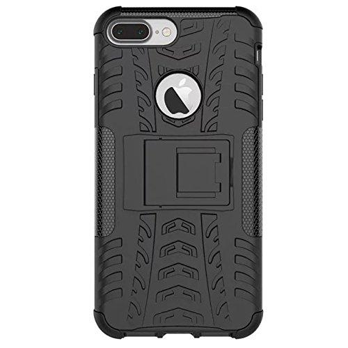 iPhone 7 Plus hülle,Lantier 2 in 1 Design Tire Series [Anti Blockier System] Dual Layer Hybird Tropfenschutz Defender Case Schutzhülle für iPhone 7 plus 5,5 Zoll Orange Tire Series Black