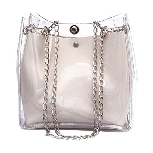 TUDUZ Umhängetaschen Damen Elegant Transparent Schultertasche mit Schal Gelee Handtasche Brief Druck Crossbody Bag Shopper Taschen Magnet Hasp(Y-Weiß)