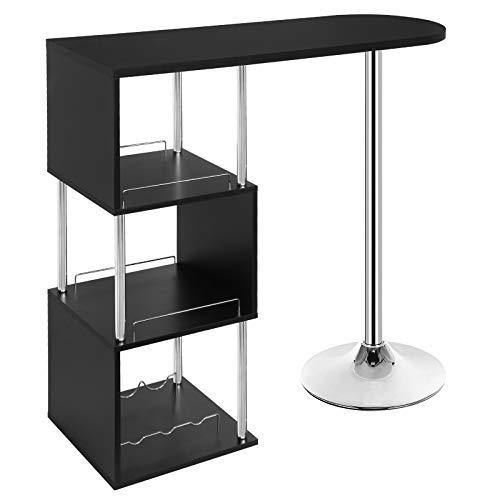 WOLTU#1644 Table de Bar bistrot Table Haute de Cuisine comptoir de Bar en MDF et métal avec 3 tablettes et Porte-Bouteilles, 113x40x105cm