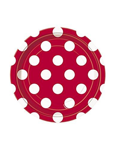 8 Petites assiettes rouges à pois blancs en carton 18 cm - taille - Taille Unique - 225896
