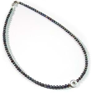 Halskette Süßwasserperlen dunkel, violett, oliv