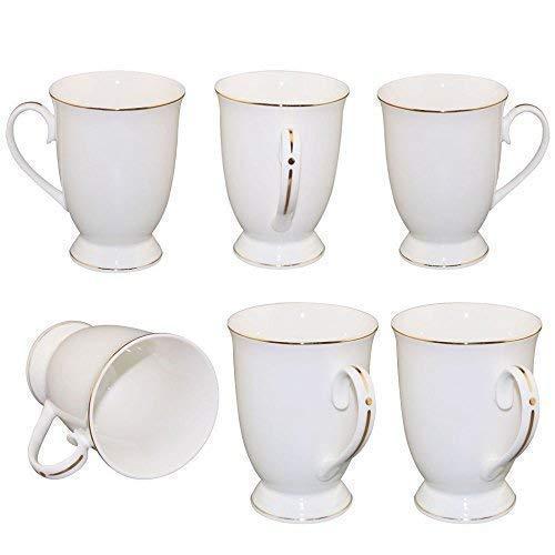 Neue Bone China Weiß Cappuccino Kaffeetasse Fine Porzellan Klassisch 11oz Kaffeebecher Tee Geschirr mit Fein Henkel und Golden Rand Dekor fürAlle Getränke -