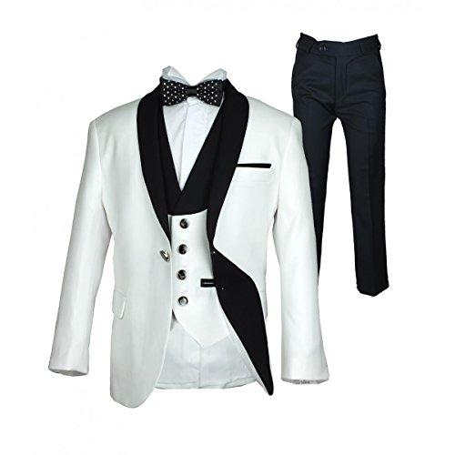 SIRRI 3 Stück oder 5 Stück Weiß und Schwarz Einzelne Taste Jungen Anzug (3 Schwarz Anzug Stück)