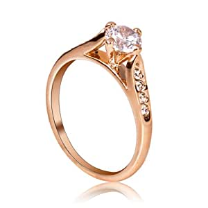 FASHION PLAZA ladies Jewelry Cubic Zirconia Engagement Ring with Cubic Zirconia shoulders SIZE P R43-8