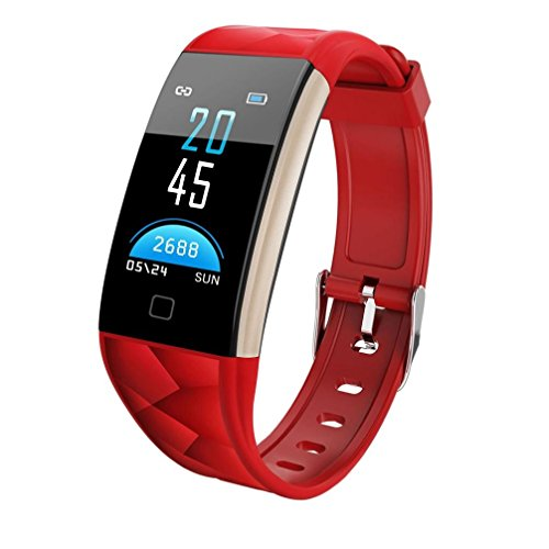 kingko 0.96 Zoll TFT bunter Bildschirm,IP67 wasserdicht,T20 Color Screen Bluetooth Smart Watch Heart Rate Monitor Smart Band,Herrenuhr - Damenuhr I Schlicht, elegant und sportlich (rot)