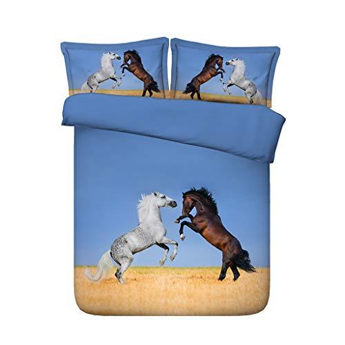 Pferde springen in der Wüste 3D Pferd Tröster Cover Set Baumwolle Mikrofaser Bettwäsche Set 3 Stück Tiere Pferd gedruckt Bettbezug Set mit 2 Kissen Shams ( Farbe : Blue bedspread , größe : Cal king ) (In Größe Cover Voller Tröster)