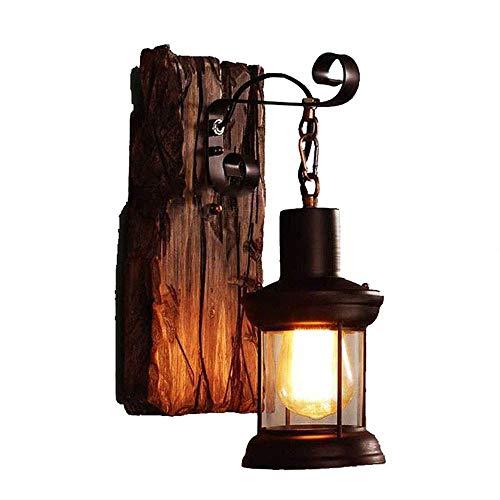 KISlink Vaxiuja-leichte industrielle Wind Bar Restaurant Persönlichkeit Schlafzimmer Nachttischlampe Vintage Schmiedeeisen Boot Holz tot Baum Farbe Holz alte Wandleuchte (Farbe: braun, Größe: 110-22 - Holz-boot-bäume