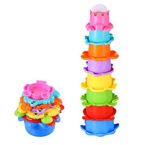 TOYMYTOY Baby Bad Spielzeug Set Stapelbecher Wasser 8PCS Abfliessen Becher Stapeln Spielzeug für Kinder BPA Frei Badewannenspielzeug Sandspielzeug - Spielzeug Stapeln Kinder